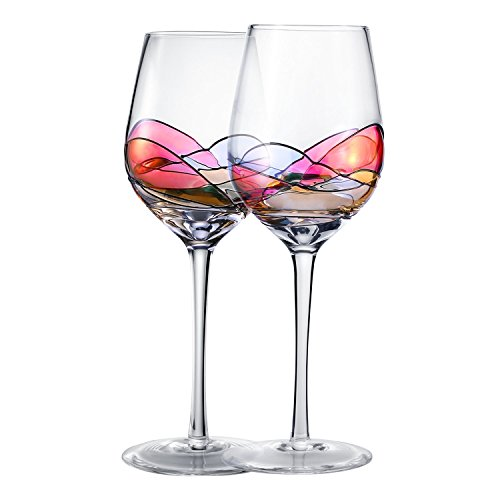 Hand Painted Wine Glasses , Bouquetier Unique Piece Of Art,Set Of 2,Holds up to 15 Ounce of Your Favorite White or Red Wine (Kitras New Glass)