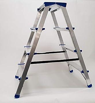 Aluminio Doble Niveles Escalera escalera escalera escalera de caballete Escalera escalera 4 peldaños plegable de hasta 150 kg, certificado TÜV): Amazon.es: Bricolaje y herramientas