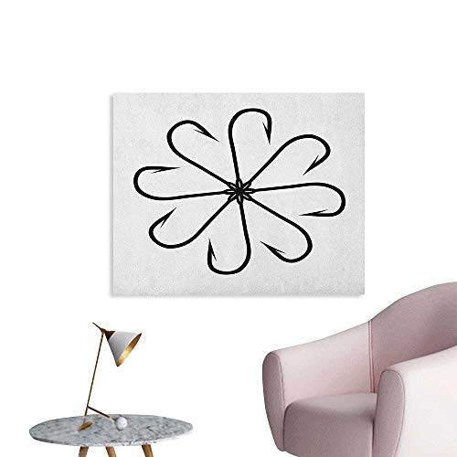 Anzhutwelve Fishing Painting Post Flower Shaped Artisan Steel Multi Hook Gaff in Row New Needle Device Figure Print Wall Poster Black White W32 xL24 (Lana Del Rey Tv In Black & White)