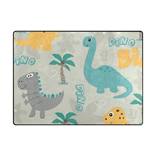 Rectangular Kids Rug - INGBAGS Super Soft Modern Cute Dinosaur Area Rugs Living Room Carpet Bedroom Rug for Children Play Solid Home Decorator Floor Rug and Carpets 6'7 x 4'8 - Feet