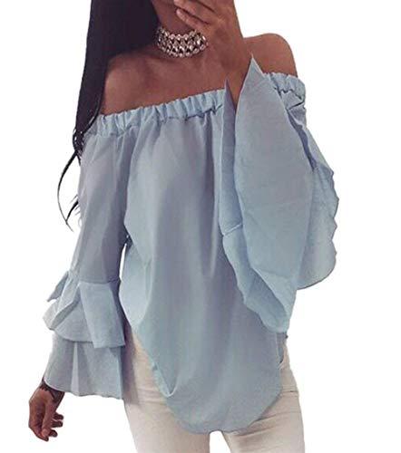 Multicouche Shirts Blau Mode Bouffant Dos paules Unicolore Moderne T Tshirt Encolure Blouse Nues Chic Bateau Top Femme Elgante Style Longues Shirts Costume Manches Et Haut Nu qw4St6S