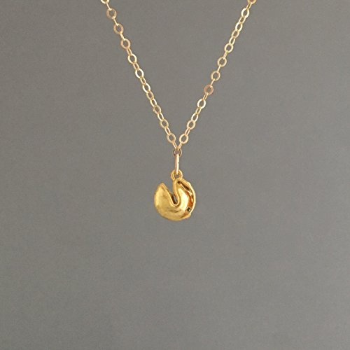 (Gold Fortune Cookie Necklace also in Sterling)