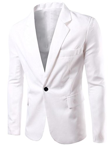 YYG Mens Casual Business Solid One Button Slim Dress Blazer Jacket White XL