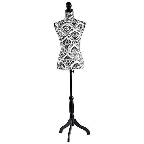 Female Mannequin Torso Dress Form with Black Adjustable Tripod Stand Dress Jewelry Display Baroco Style,Black Flower
