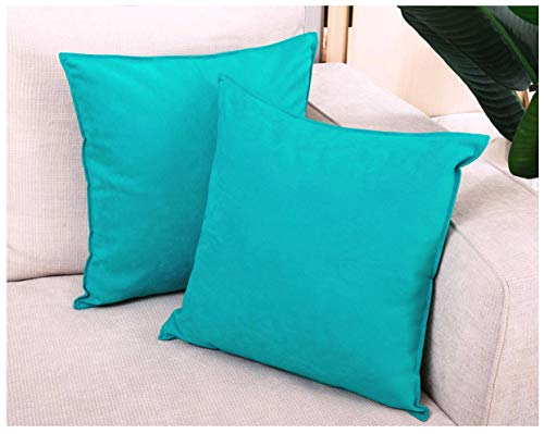 Zealax 2-Pack Cushion Covers Solid Color Comfortable Faux Suede Decorative Throw Pillow Covers Pillowcases for Sofa Couch Living Room Decor, 20 x 20 inches, Turquoise (Faux Covers Suede)