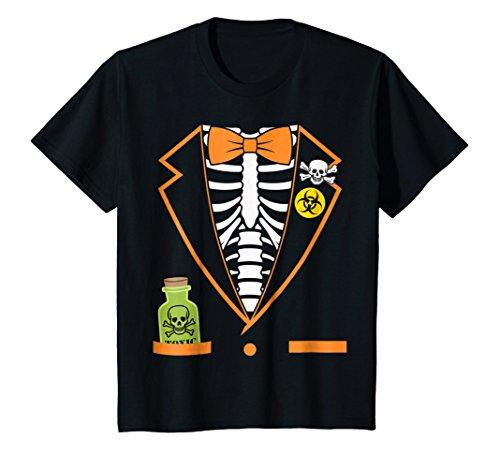 Kids Skeleton Tuxedo Spooky Funny Halloween T-Shirt 8 -
