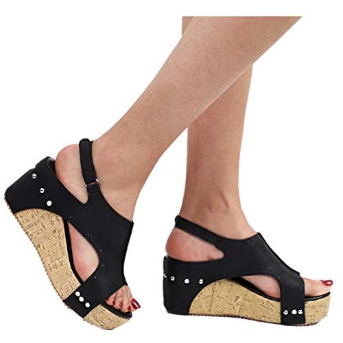 (Women's Sandals Peep Toe PU Belt Buckle Blocking Hook-Loop Fashion Wedges Heel Sandals Summer Shoes (9, Black I))