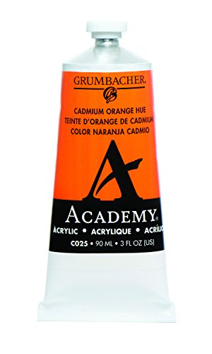 Grumbacher Academy Acrylic Paint, 90ml/3 oz Metal Tube, Cadmium Orange Hue