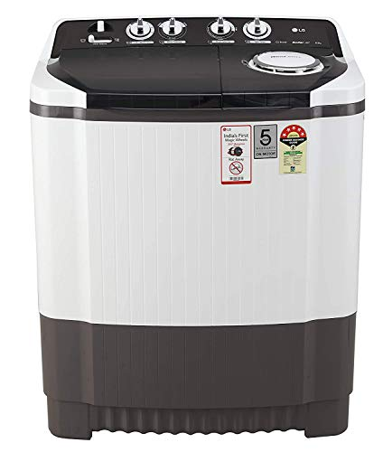 LG 8 Kg 5 Star Semi-Automatic Top Loading Washing Machine (P8035SGMZ, Grey, Collar Scrubber) 2021 June Semi-automatic washing Machine: Economical, Low water and energy consumption, involves manual effort; has both washing and drying functions Capacity 8.0 kg (wash): Suitable for large families Energy rating 5 Star