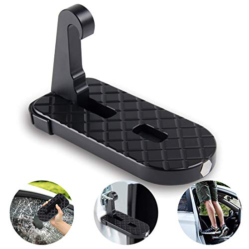 GROWNEER Vehicle Rooftop Doorstep Folding Ladder, Foot Pegs Pedals Hook w/Safety Hammer Access to Car Rooftop, Foot Pad for Car, Jeep, SUV