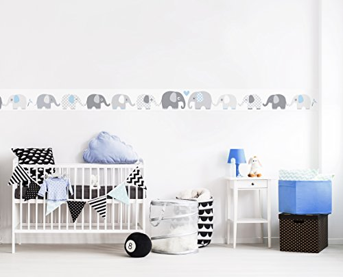 Lovely Label Bordure Selbstklebend Elefanten Grau Blau Wandbordure