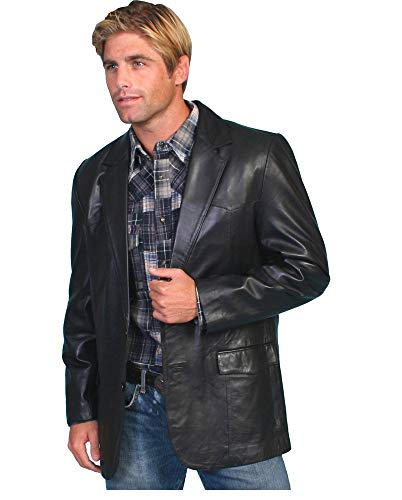 Leather Image Men's Genuine Lambskin Leather Blazer Black Button Fly Satin Linings BL02 (Black, XXX-Large (fits to Chest 48-49 inch))