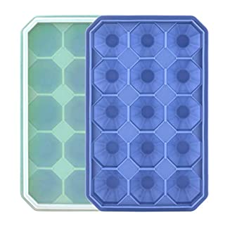 Ice Cube Trays with Silicone Lid, Silicone Ice Tray Molds Easy Release Diamond Shaped Icer Mold, 2 Pack (15Diamond Grid, GreyBlue+Green)