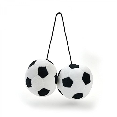 Vintage parts USA VPAFB003 Fuzzy Hanging Rearview Mirror Soccer Balls - Pair