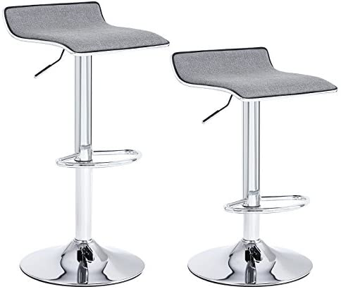 SONGMICS Set of 2 Adjustable Bar Swivel Kitchen Breakfast Counter Stools, with Linen Fabric Seat, Gray