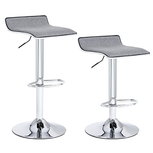 SONGMICS Set of 2 Adjustable Bar Swivel Kitchen Breakfast Counter Stools, with Linen Fabric Seat, Gray ULJB12G