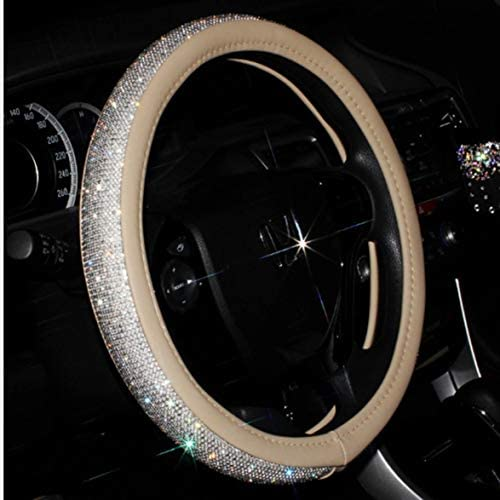Tivollyff 美しいラインストーン付きの魅力的なエレガントな女の子スタイルの耐久性のある革15インチの車のステアリングホイールカバー