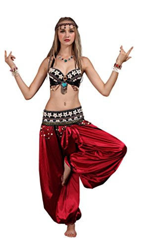 Circus Dance Costume - GUILTY BEAUTY Tribal Style Belly Dance Costume,Bra Belt Bloomers 3pcs Outfit