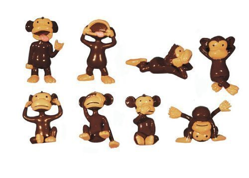 (72 Mini Funny Brown Monkey Figure Lot - Tiny Plastic Animal Party Favors - Bag of Small)