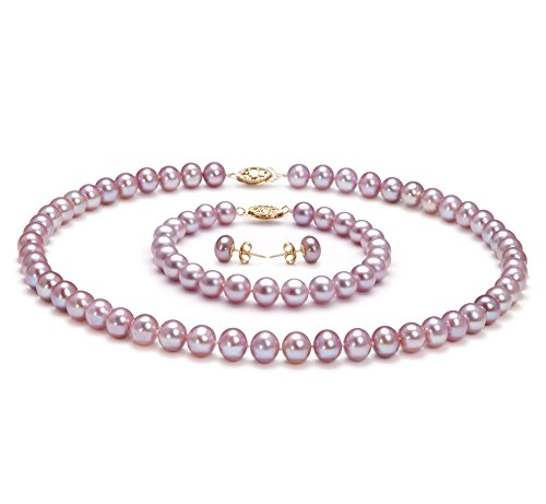 Lavande 7-8mm AA-qualité perles d'eau douce -un set en perles