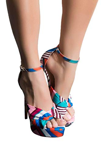 AKIRA Women's Scarf Print Geo Pattern Twist Toe Ankle Buckle Stiletto Platform Sandals-MULTI_8