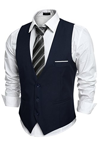 (COOFANDY Men's V-Neck Sleeveless Slim Fit Jacket Casual Suit Vests,Type-02 Navy Blue,Small)