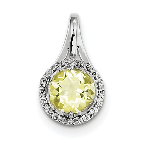 (925 Sterling Silver Rhodium Plated White Topaz Lemon Quartz Circle Pendant)