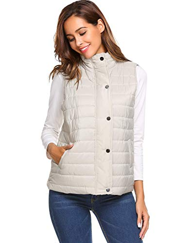 Aimage Womens Winter Warm Sleeveless Body Warmer Hooded Button Down Jacket Vest Tops Gilets Light Grey