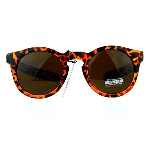 SA106 Retro Thick Plastic Keyhole Warp Horn Rim Sunglasses - Turtle Sunglasses Shell
