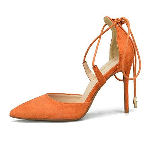Bouts Croises Talons Talon Le Fin Ladies Bretelles Pointus Robes Chaussures Travail Orange Shoes Hauts Shanly Pour Mariage High Strappy 6cm De Suede vn8q0