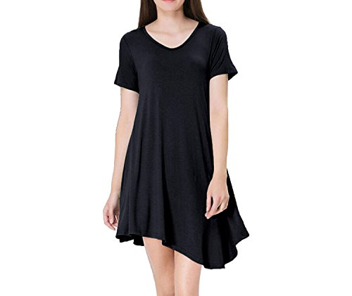 Irregular Hem Short Sleeve Mini Dresses Womens 2018 Summer Casual Loose V Neck Robe (Avalon 9 Drawer Dresser)