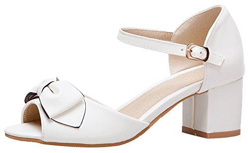 Mofri Women's Sweet Bowtie Peep Toe Sandals - Buckle Ankle Strap Solid Color - Block Medium Heels Wear to Work Shoes (White, 4 B(M) -