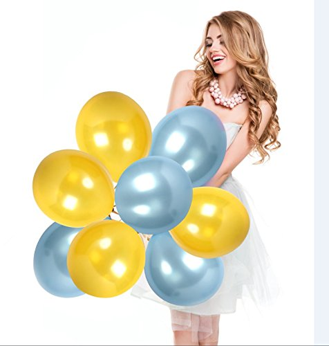 Gold and Royal Blue Wedding Balloons Boy Gender Reveal Party Supplies Baby Shower Pearl Latex Premium Quality Announcement Decorations Pack of 100 with Ribbon