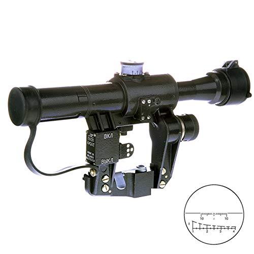 BelOMO POSP 4x24 T. Optical Rifle Scope. Russian Side Mount. 400m Rangefinder. 1 MOA. Combloc (Airsoft Dragunov Scope Mount)