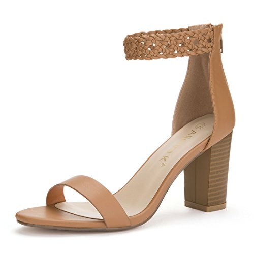 Allegra K Women's High Block Heel Braided Ankle Strap Sandals (Size US 8.5) Brown