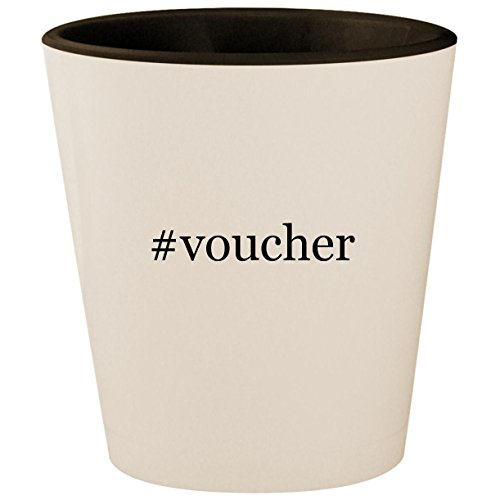 #voucher - Hashtag White Outer & Black Inner Ceramic 1.5oz Shot Glass