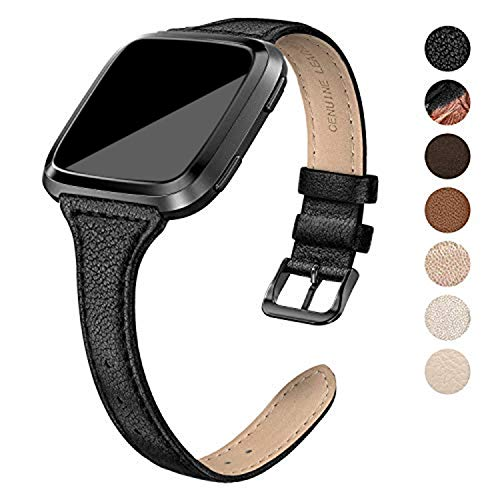 SWEES Leather Bands Compatible Versa, Genuine Leather Slim Thin Strap Replacement Wristband Women Men (5.5
