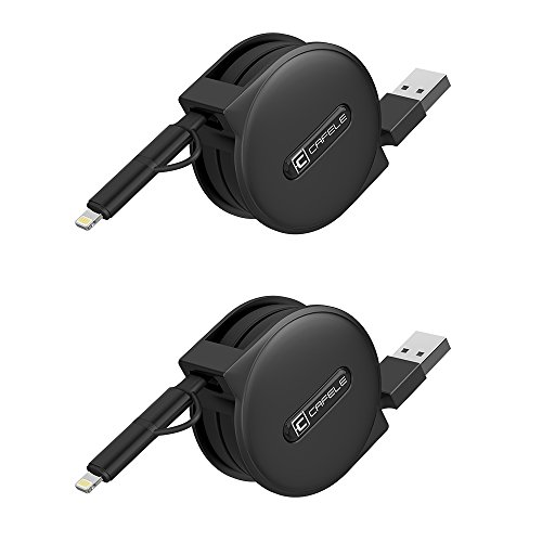 Retractable Lightning Cable, CAFELE 2 Pack 5ft Lightning Micro USB 2 in 1 Powerline iPhone Cord Charger Data Sync Cable Adapter iPhone X 8 7 6s 6 Plus 5s 5 SE, Samsung S7 S6, Sony, Nokia - Black