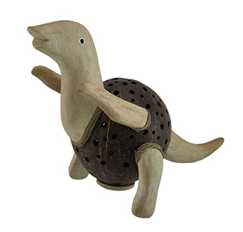 Zeckos Dinosaurus Rex Wood & Coconut Shell Coin Bank