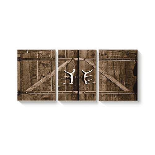 Canvas Wall Art Office Hotel Bedroom Living Room Home Decor,Vintage Wooden Door with Antlers Pattern Canvas Art Oil Paintings,Pictures Modern Artworks,16 x 24in x 3 Panels ()