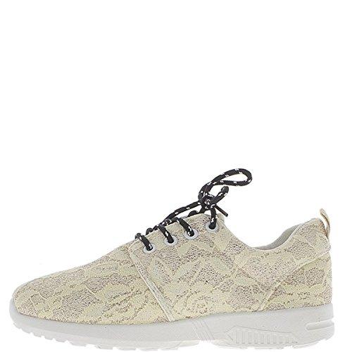 Sneakers donna giallo oro 3-d a nido d'ape con suola spessa