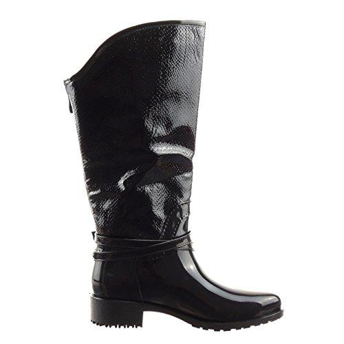 CM 5 snakeskin 3 wellignton Heel cavalier boots Shoes Black Block Women's Heel Sopily Boots rain chains High Fashion golden Knee YqUv1aTw