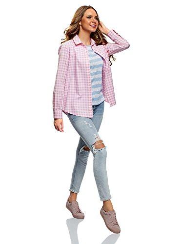 Rosa Donna Larga Ultra 4110c Maniche Camicia con oodji Regolabili 0wf5TqnR