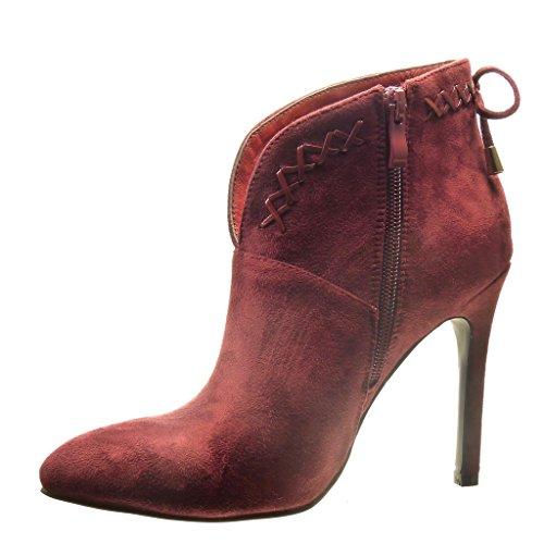 Angkorly - Chaussure Mode Bottine low boots sexy femme noeud métallique lacets Talon haut aiguille 10.5 CM - Rouge