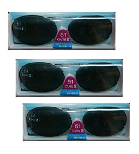 3 Pack Solar Shield 51 Oval 2 Full Frame Gray Polarized Lens Clip on ()