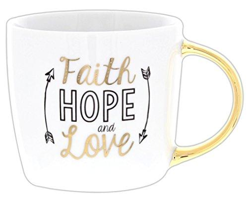 Gold-Tone Inspirational Coffee Mug (Faith Hope and Love)
