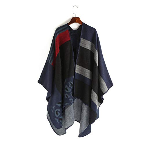 Winter Warm Cape Women Patchwork Striped Tassel Ponchos and Capes Large Shawls and Wraps Cashmere Scarf,Navy blue,160cmX135cm