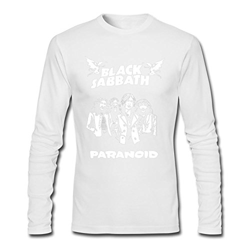 MINIXmas Men's Music Band Black Sabbath Paranoid Art Long Sleeve T-shirt White L (Black Sabbath Never Say Die Cover Art)