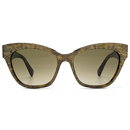 Alexander McQueen Women's AMQ 4261/S Dark Havana Gold/Brown Gradient 1 - Mcqueen Alexander Sunglasses Women
