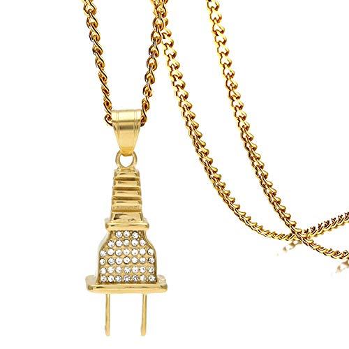 b933751f84f09 Xusamss Hip Hop Alloy Plug Pendant Crystal Necklace 24 Inch Chain